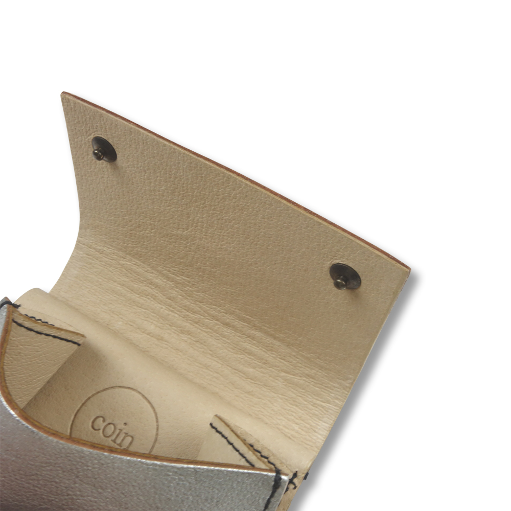 Eb.a.gos / エバゴス / メタリックスナップ付三つ折り財布【SILVER】 / 正規取扱店